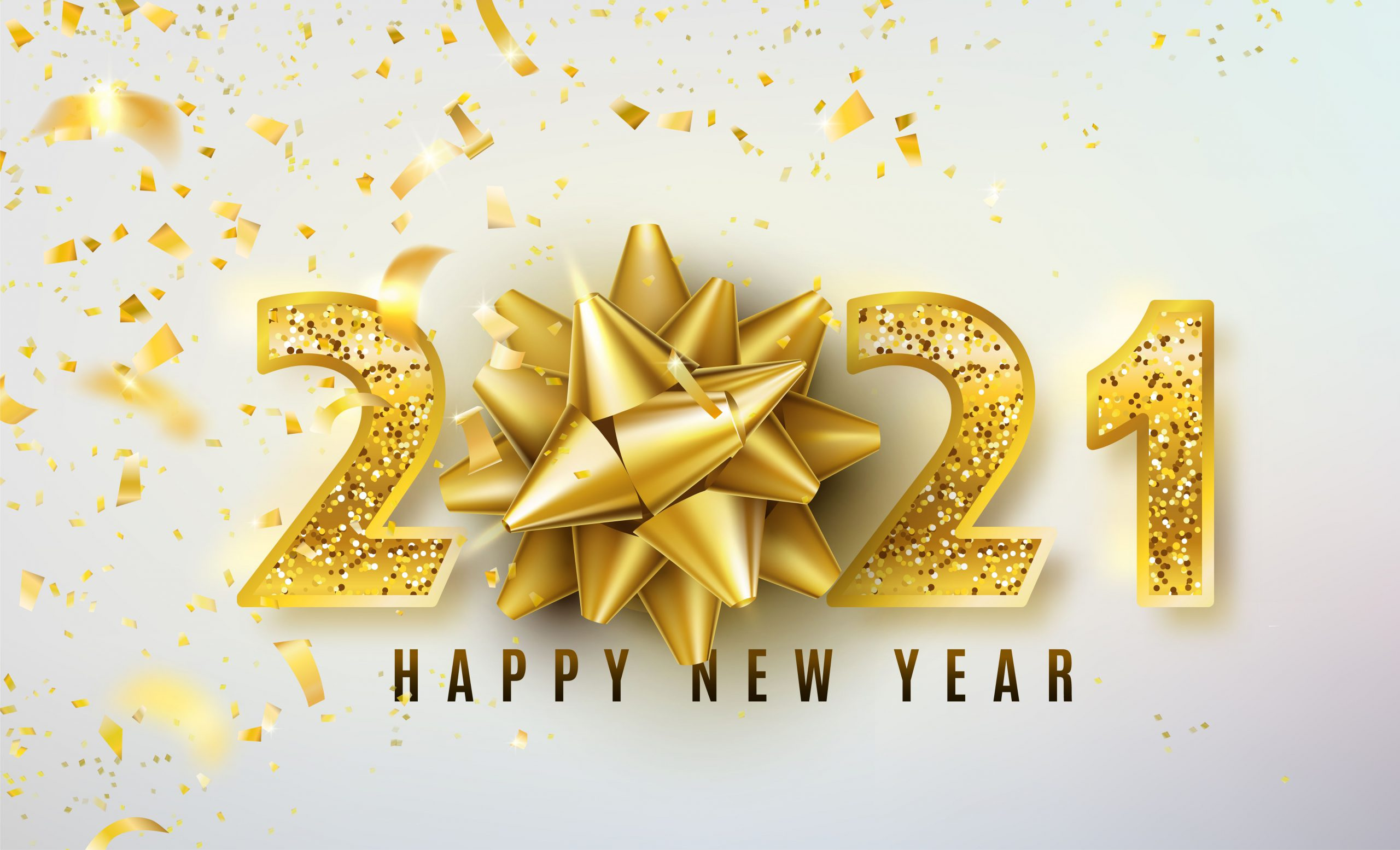 2021 Happy New Year vector background with golden gift bow, confetti, shiny glitter gold numbers. Christmas celebrate design. Festive premium concept template for holiday